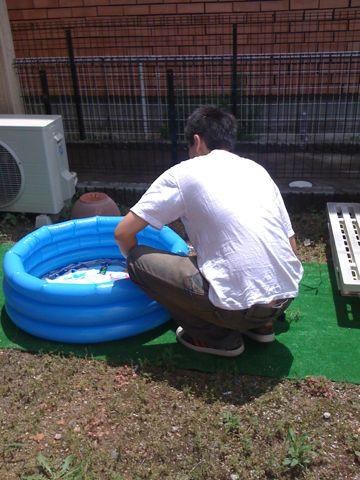 お庭でプール♪